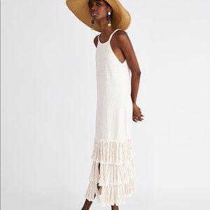 NWT Zara Midi Dress With Fringe